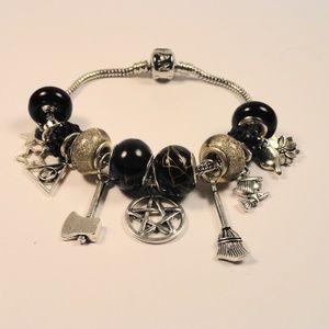 Jewelry - Black Witch Charm Bracelet Broom Star Pentagram +